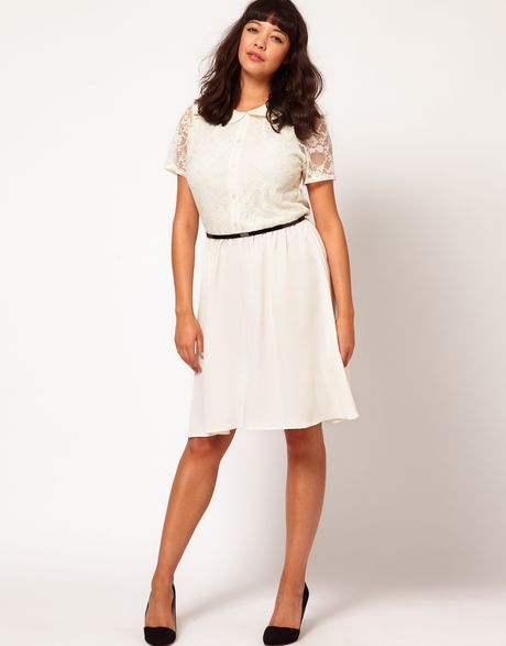 Asos Curve Lace Skater Dress With Peter Pan Collar In
