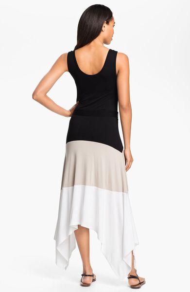 Calvin Klein Color Block Maxi Dress In White Black Khaki