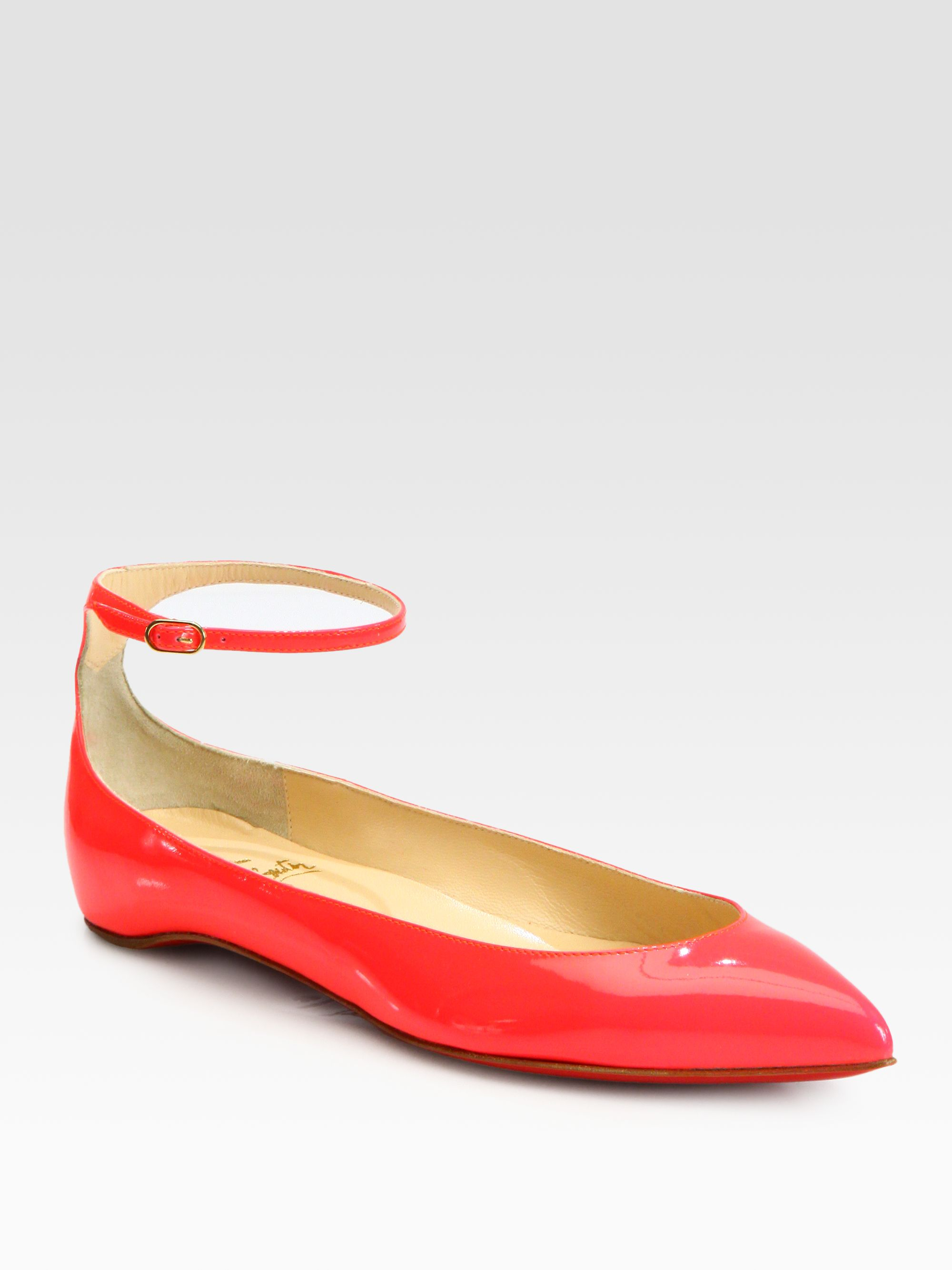 d5b7b672b683 Lyst - Christian Louboutin Mrs H Patent Leather Ankle Strap Ballet ...