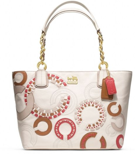 Coach Madison Whipstitch Tote in Beige (b4/parchment/cognac)