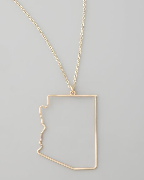 gaugenyc gold state pendant necklace arizona in gold