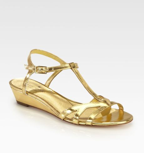 kate spade violet metallic leather wedge sandals in gold