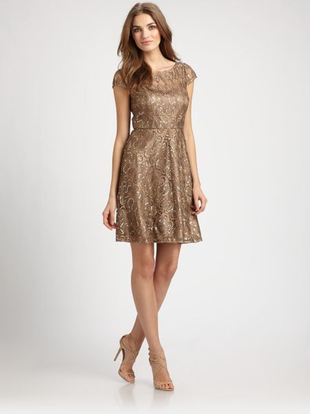 Kay Unger Sequined Lace Dress in Gold (bronze)