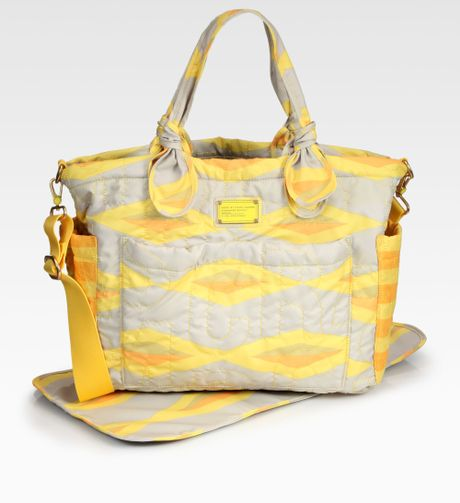 Marc By Marc Jacobs Quilted Nylon Baby Bag In Yellow