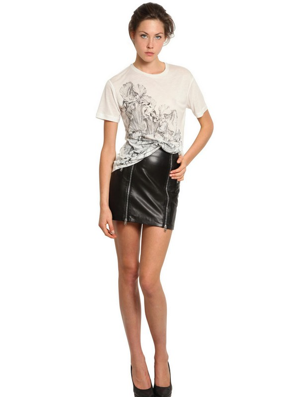 Mcq Double Zip Nappa Leather Skirt in Black | Lyst