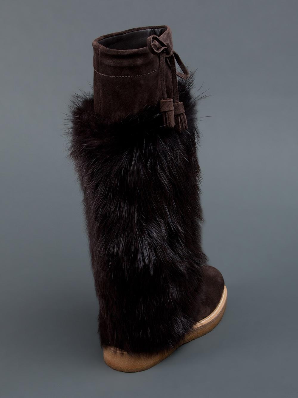 Moncler Beaver Fur Boot In Brown