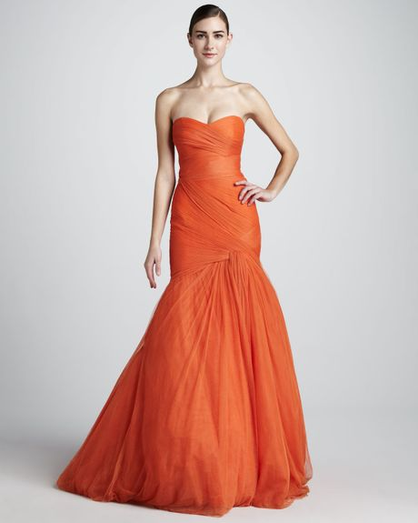 Monique Lhuillier Strapless Trumpet Gown in Orange (black) - Lyst