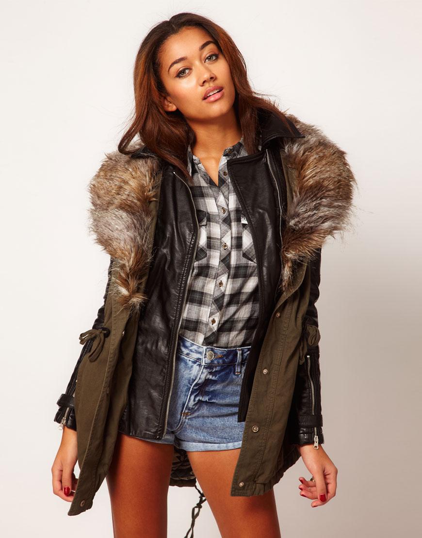 River island khaki parka coat