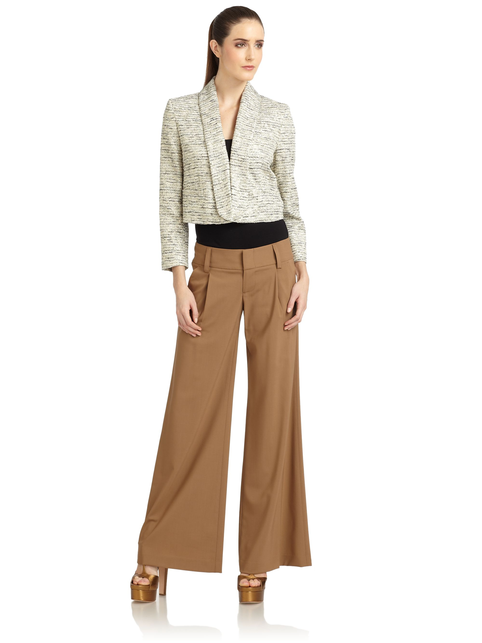 Alice   olivia Tan Wool Blend Eric Wide Leg Pleated Pants in Brown ...