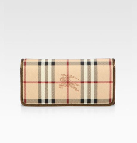 Burberry Penrose Coated Canvas Metallic Trim Continental Wallet in Beige (gold)