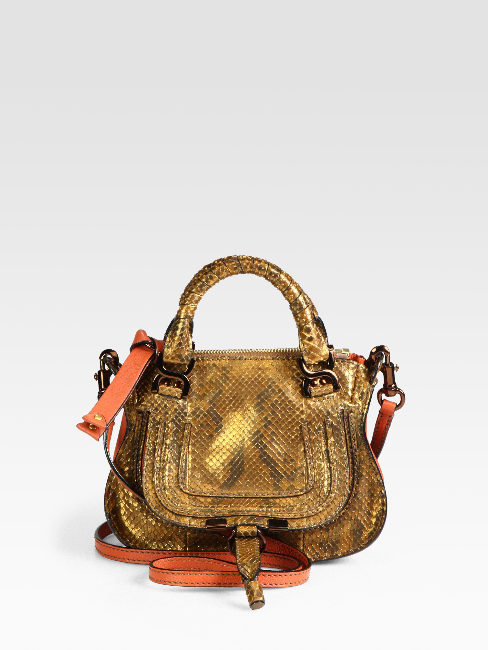 Chlo¨¦ Mini Marcie Metallic Python Satchel in Gold (copper) | Lyst