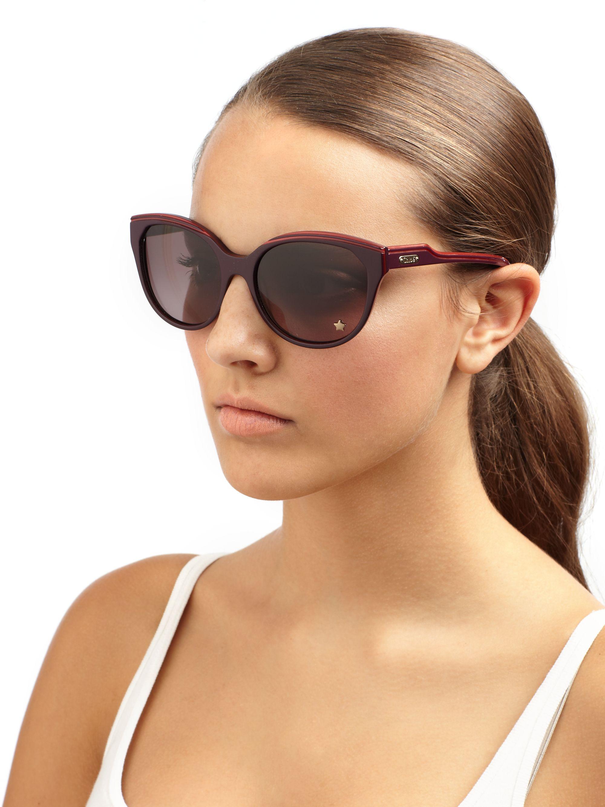Square Cat Eye Sunglasses  chloé square edge cat s eye sunglasses in purple lyst