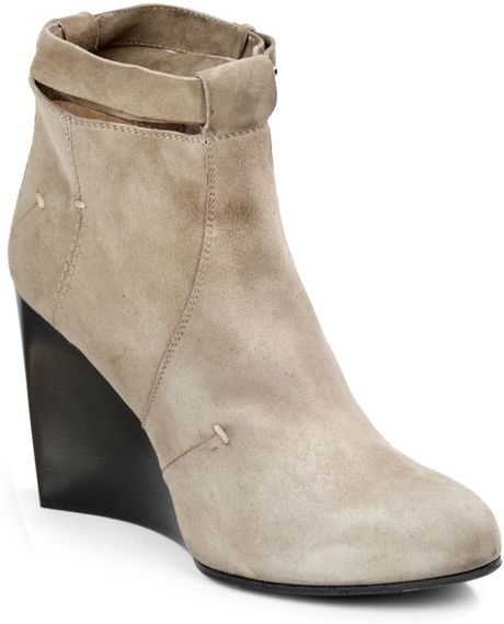 costume national camoscio suede wedge ankle boots in gray