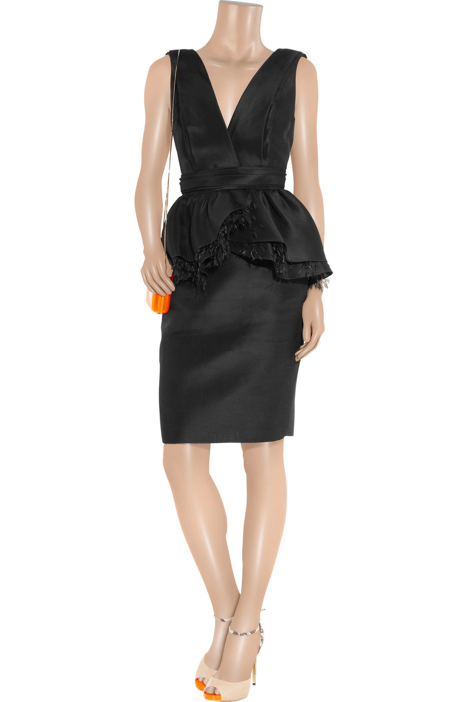 Lyst Jason Wu Feather Trimmed Cotton And Silk Blend