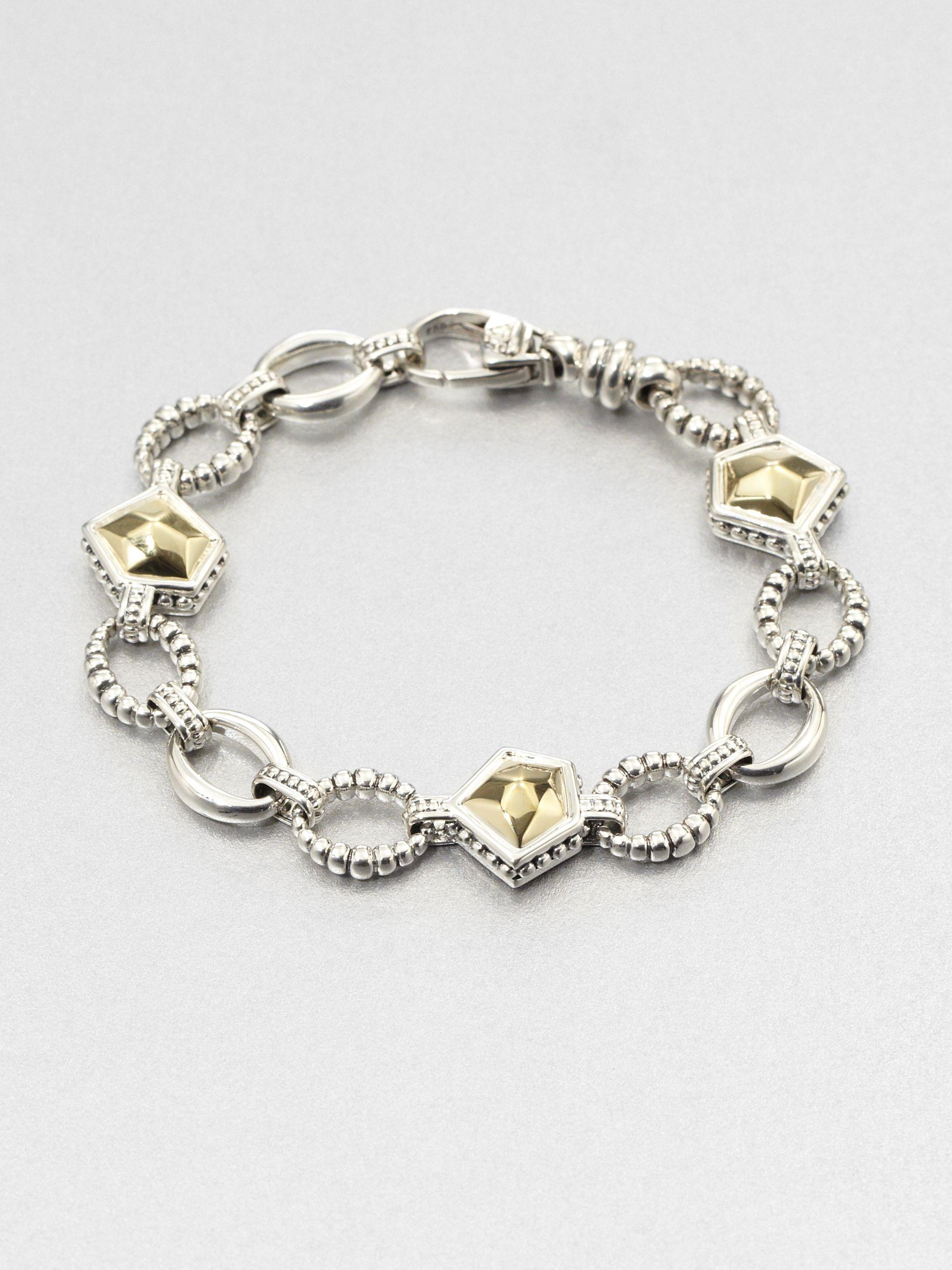 Lagos 18k Gold And Sterling Silver Rock Link Bracelet In