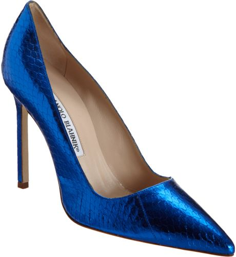 Manolo Blahnik Metallic Stamped Bb in Blue