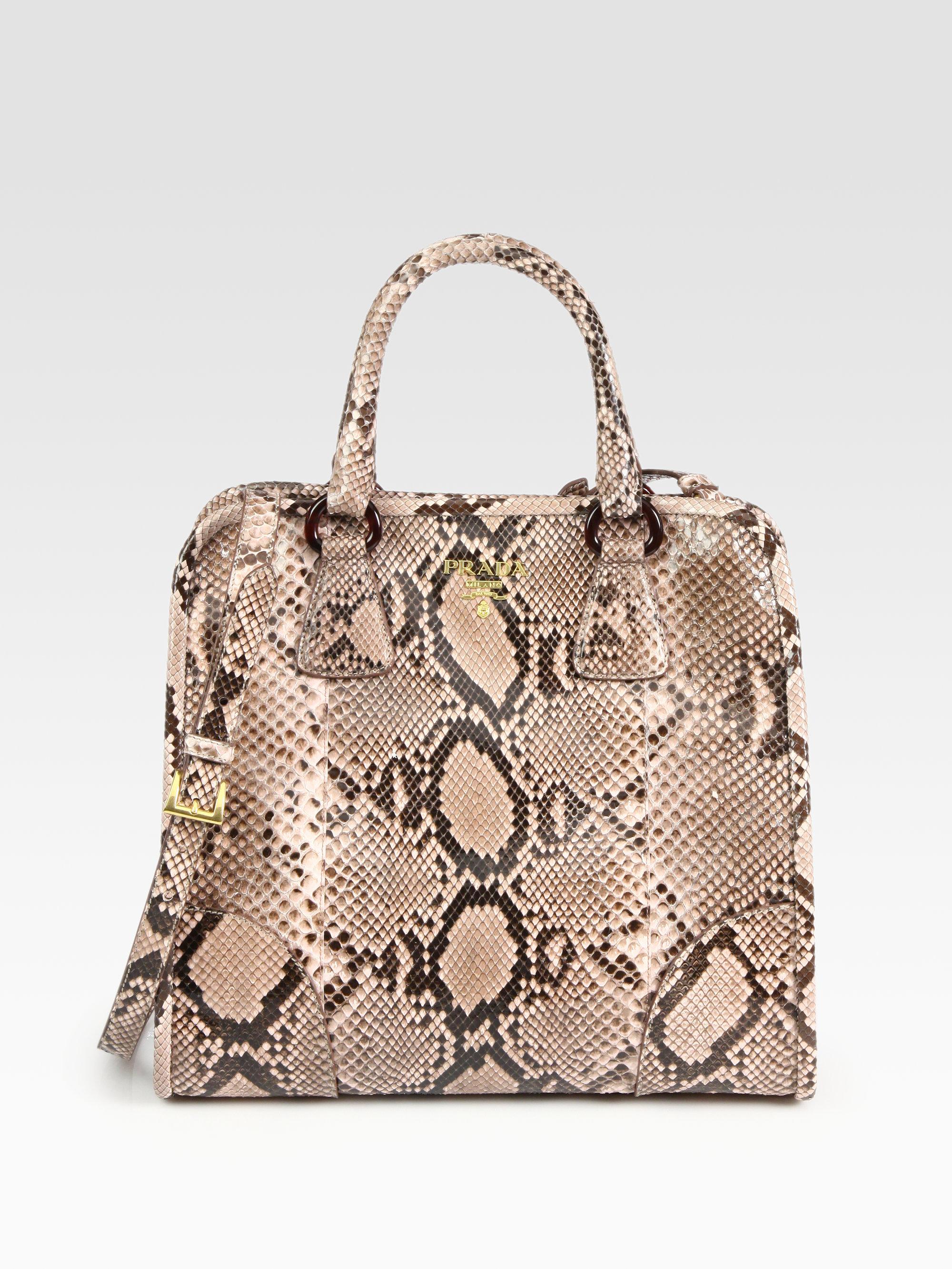 prada ladies bag price - Prada Pitone Lucido Python Tote in Pink (light pink)   Lyst