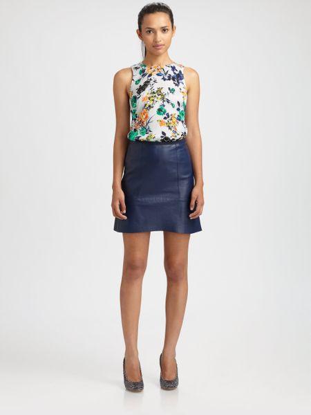 sachin babi caldera leather skirt in blue navy lyst