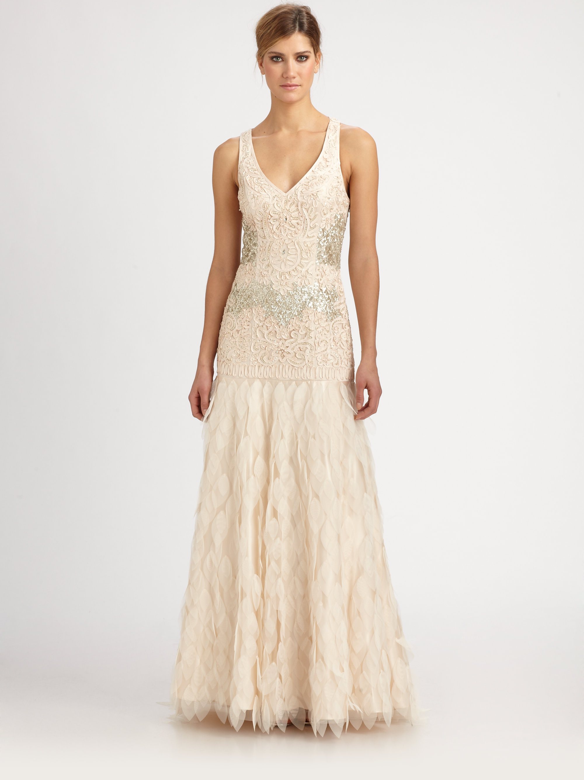 Lyst - Sue Wong Beaded Petal Gown in Pink