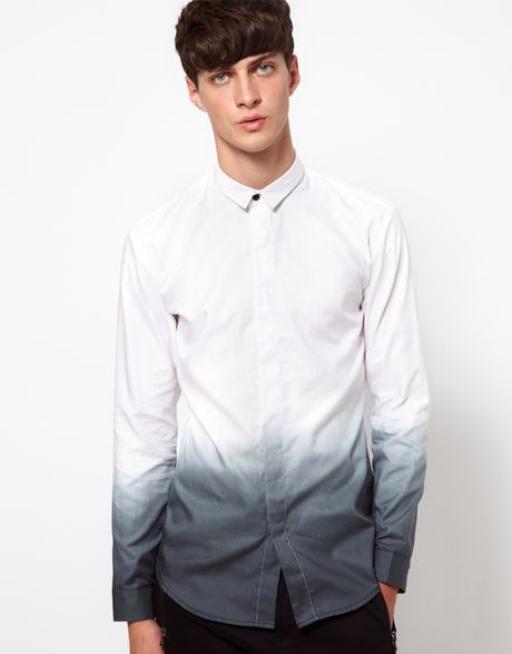 Unconditional shirt with dip dye print in white for men lyst for Mens dip dye shirt