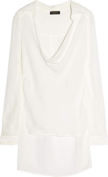 Vionnet Silk-Crepe Top in White (ivory)