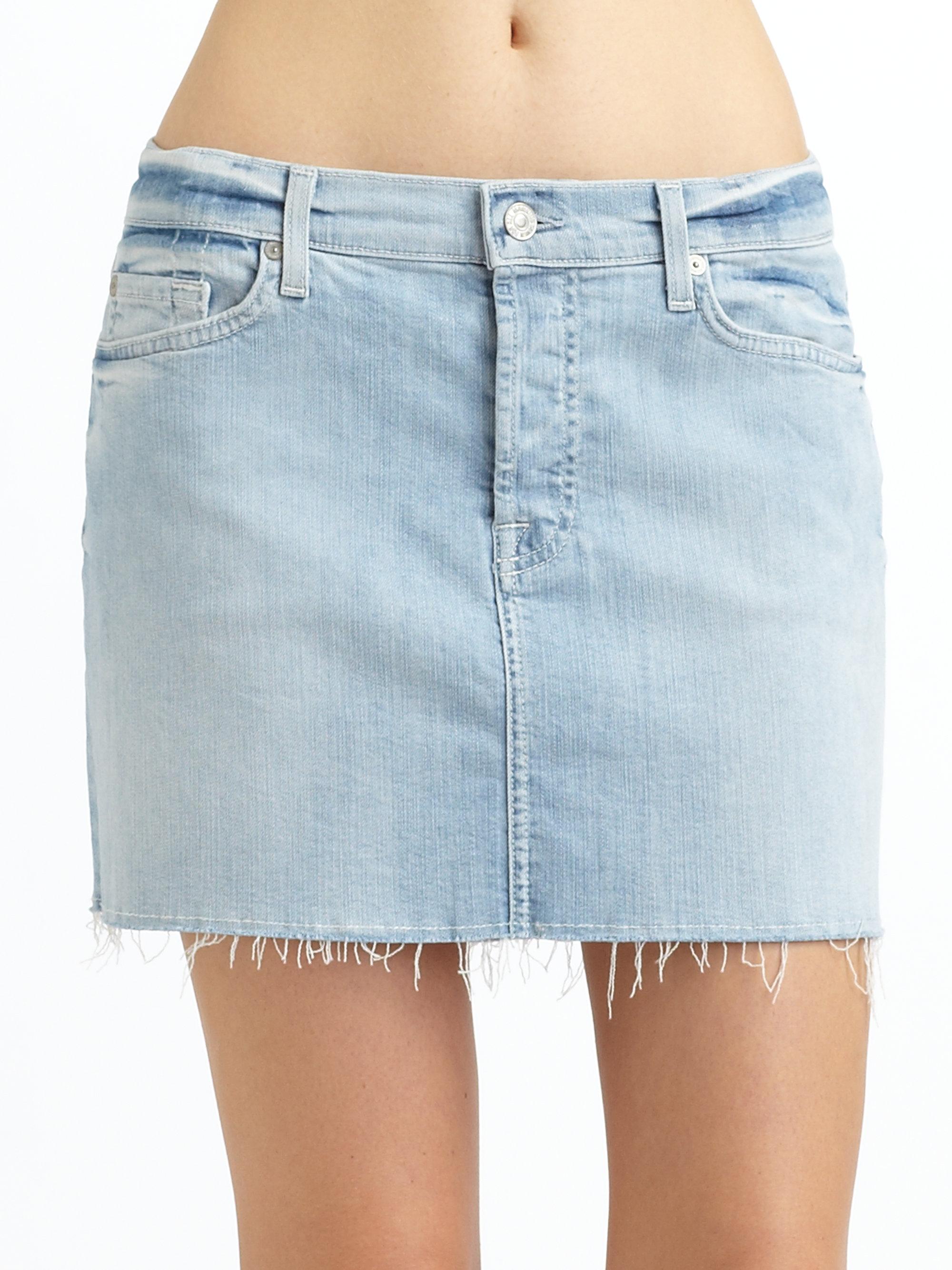 7 for all mankind denim cutoff skirt in blue lyst