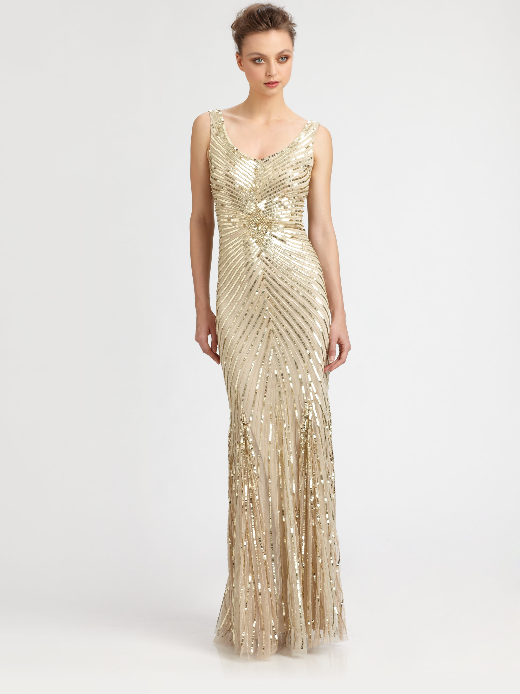 Aidan mattox Sequined Starburst Gown in Metallic | Lyst