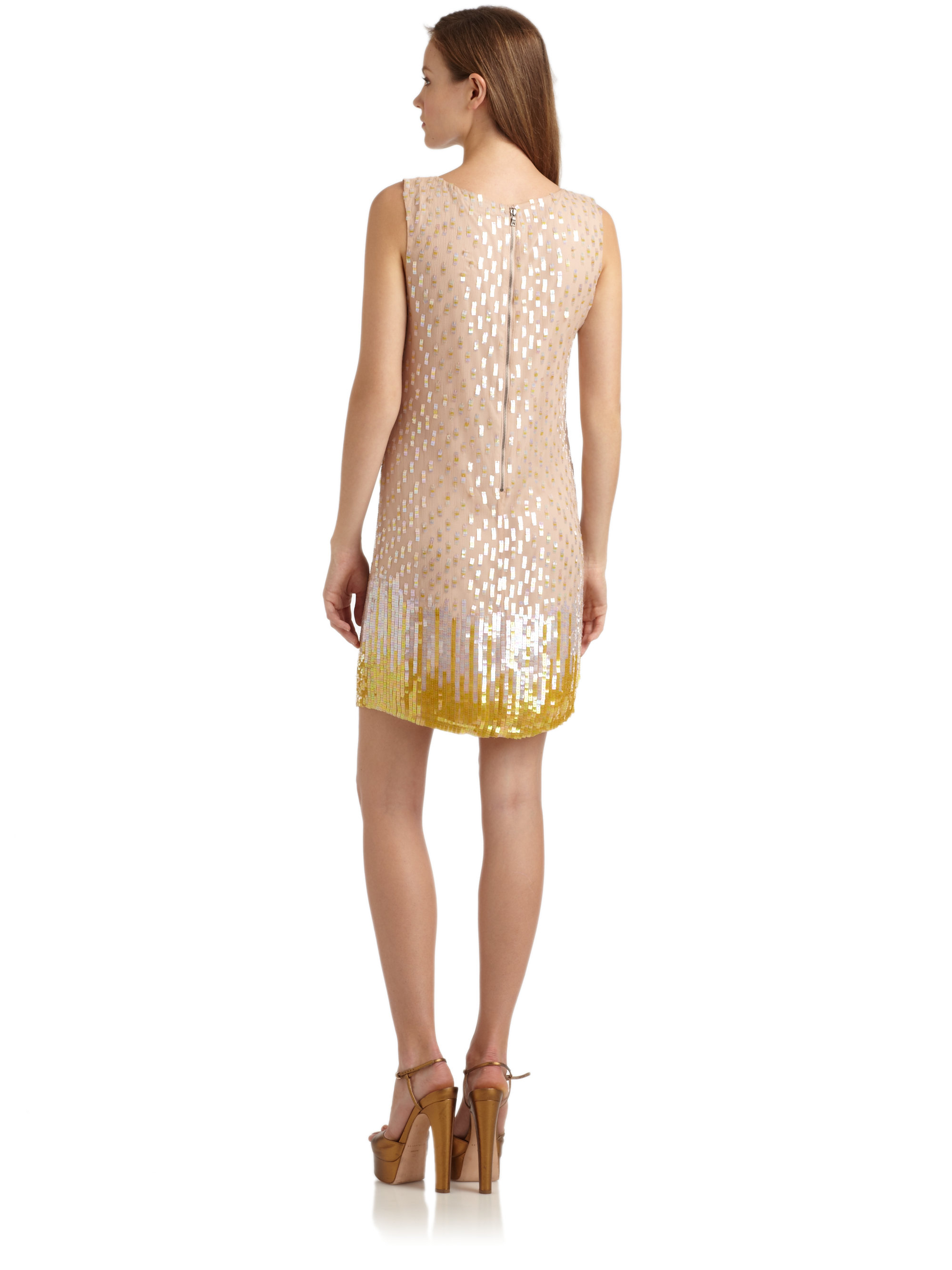 Lyst - Alice  Olivia Camille Sequined Ombre Shift Dress In Natural-1106