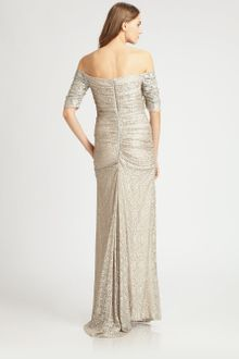 Badgley Mischka Off-the-shoulder Lace Gown - Lyst