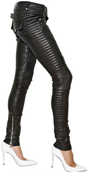 Balmain Leather Stretch Biker Trousers in Black