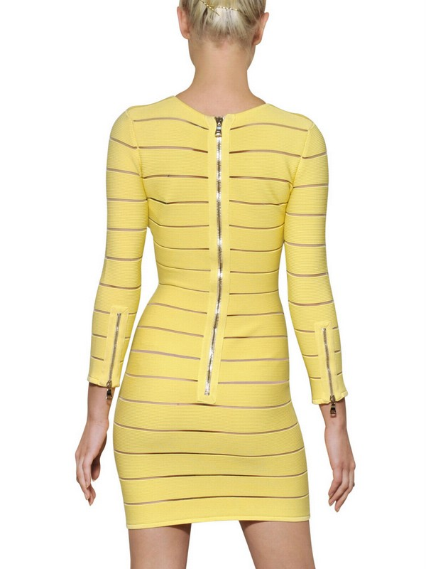 c4ae48bf Balmain Striped Viscose Dress in Yellow - Lyst