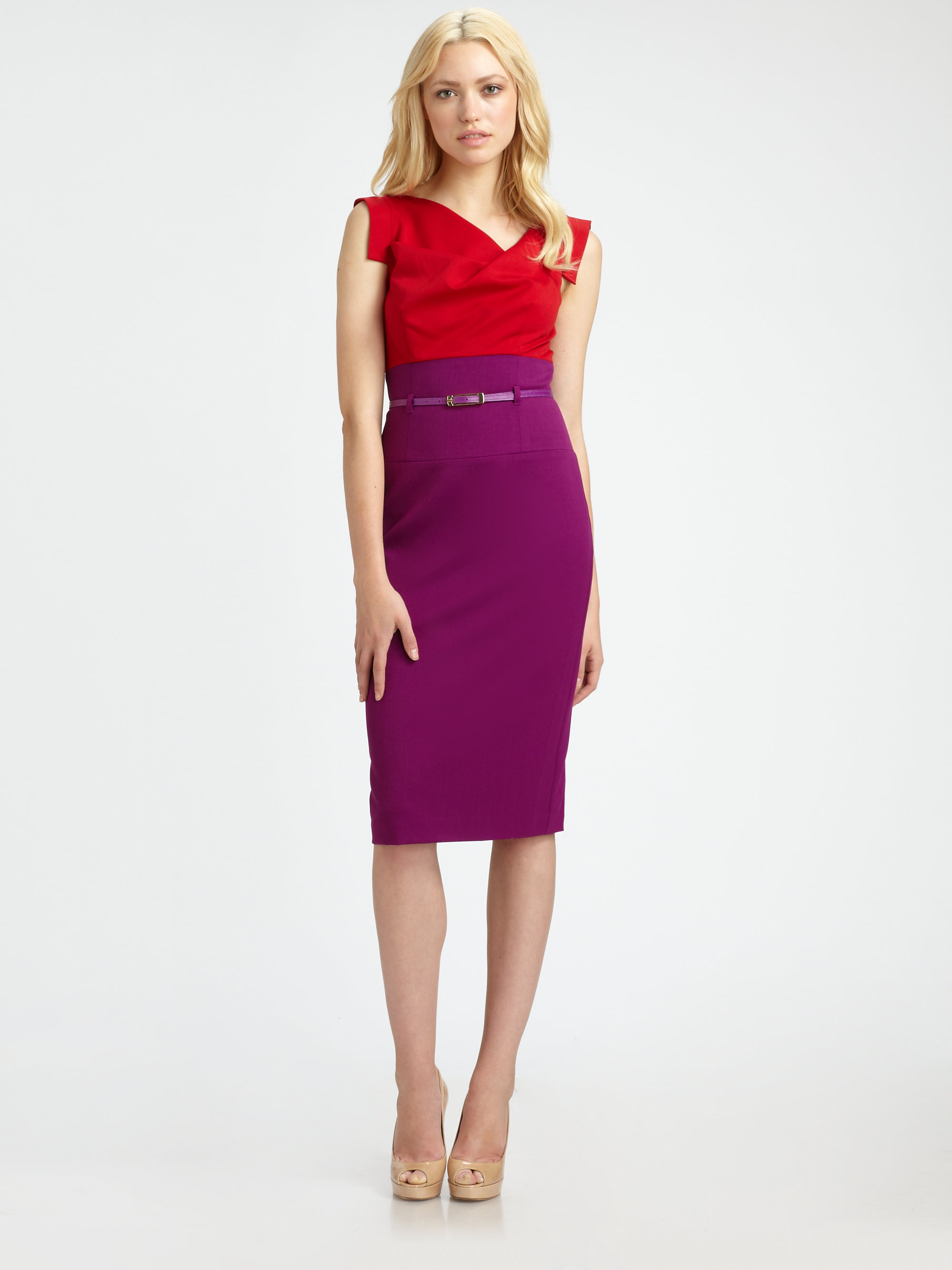 Black Halo Jackie O Colorblock Dress In Red Lyst