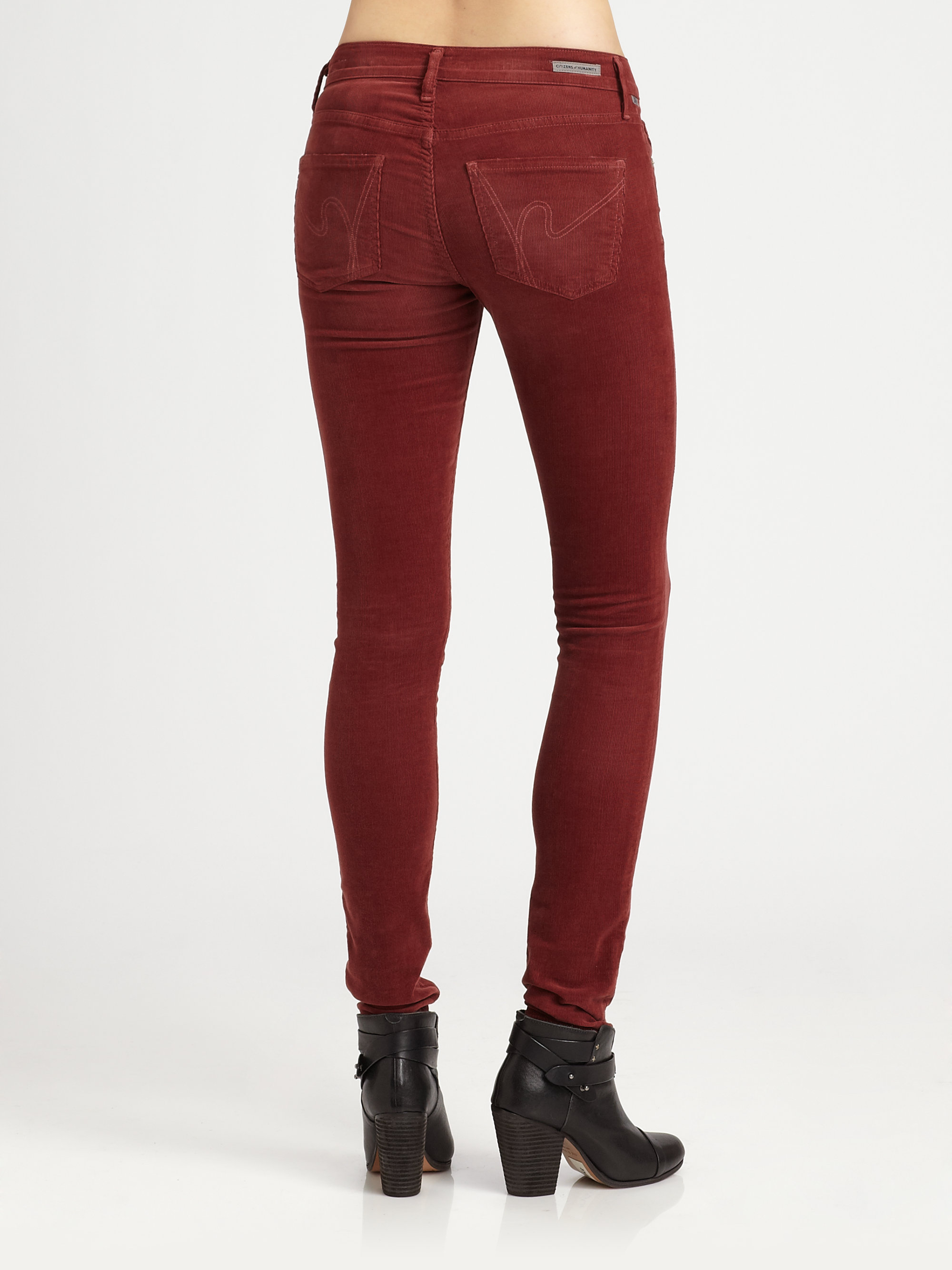 Citizens of humanity Luxe Corduroy Skinny Jeans in Red | Lyst