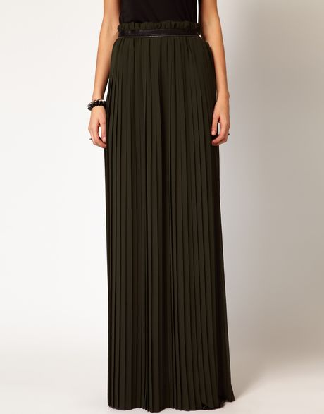 diesel pleated maxi skirt with thigh split in black green