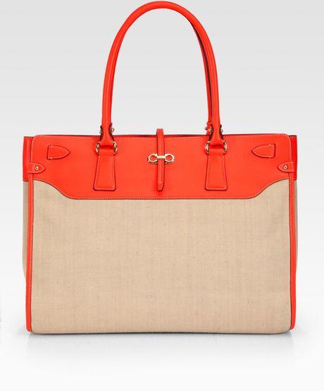 Ferragamo New Icona Briana Tote in Red (orange)