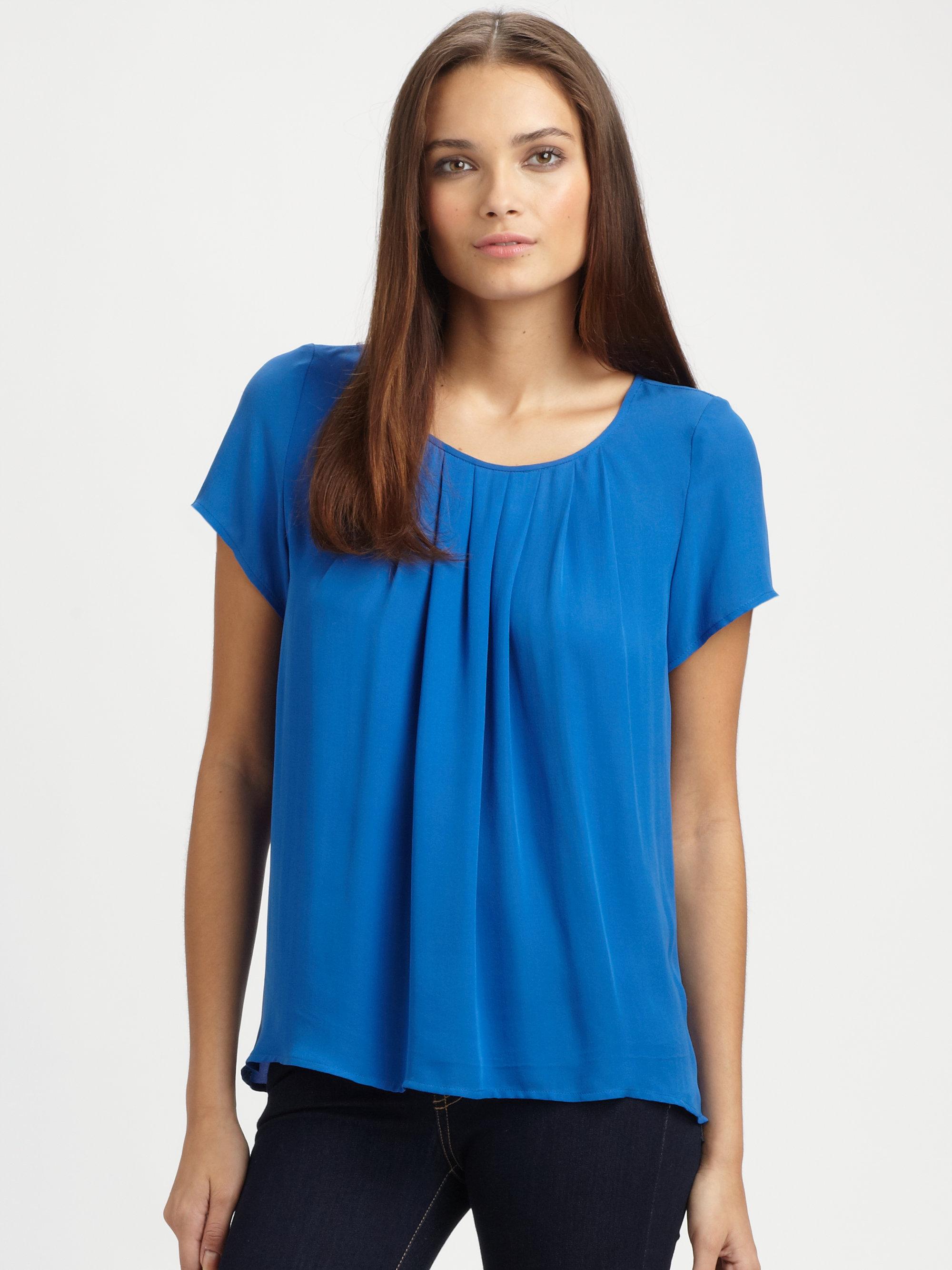 Lyst Joie Meera Pleated Silk Top In Blue