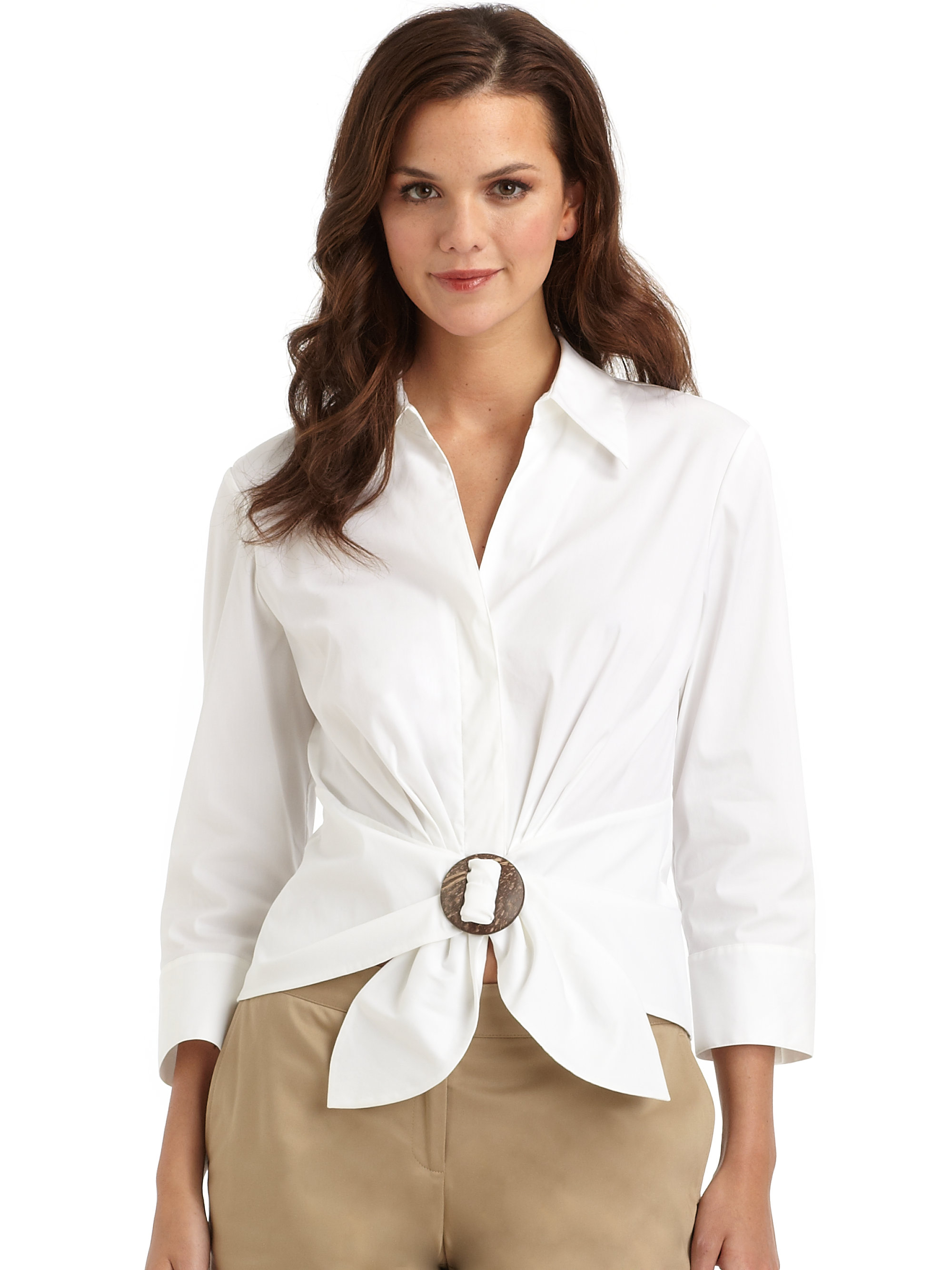 Lyst Lafayette 148 New York Tie Front Ring Blouse In White