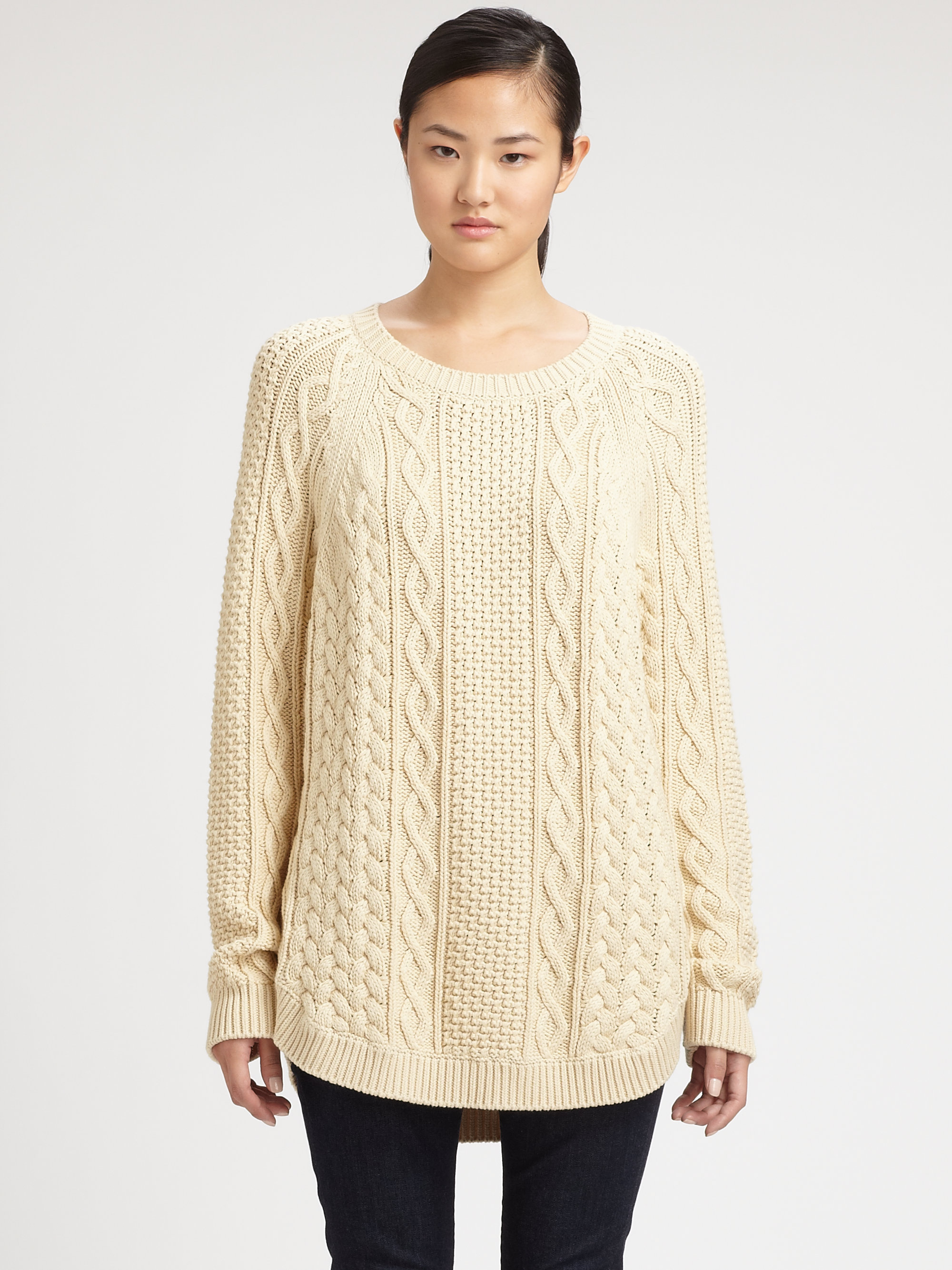 3bb71691a6c527 MICHAEL Michael Kors Fisherman Cableknit Sweater in Natural - Lyst
