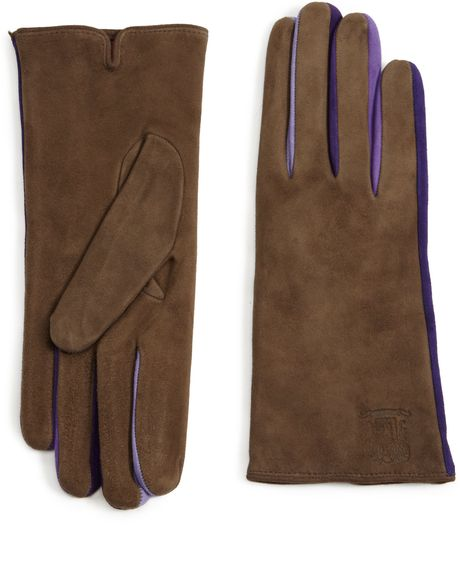 Portolano Color Accent Suede Gloves in Brown