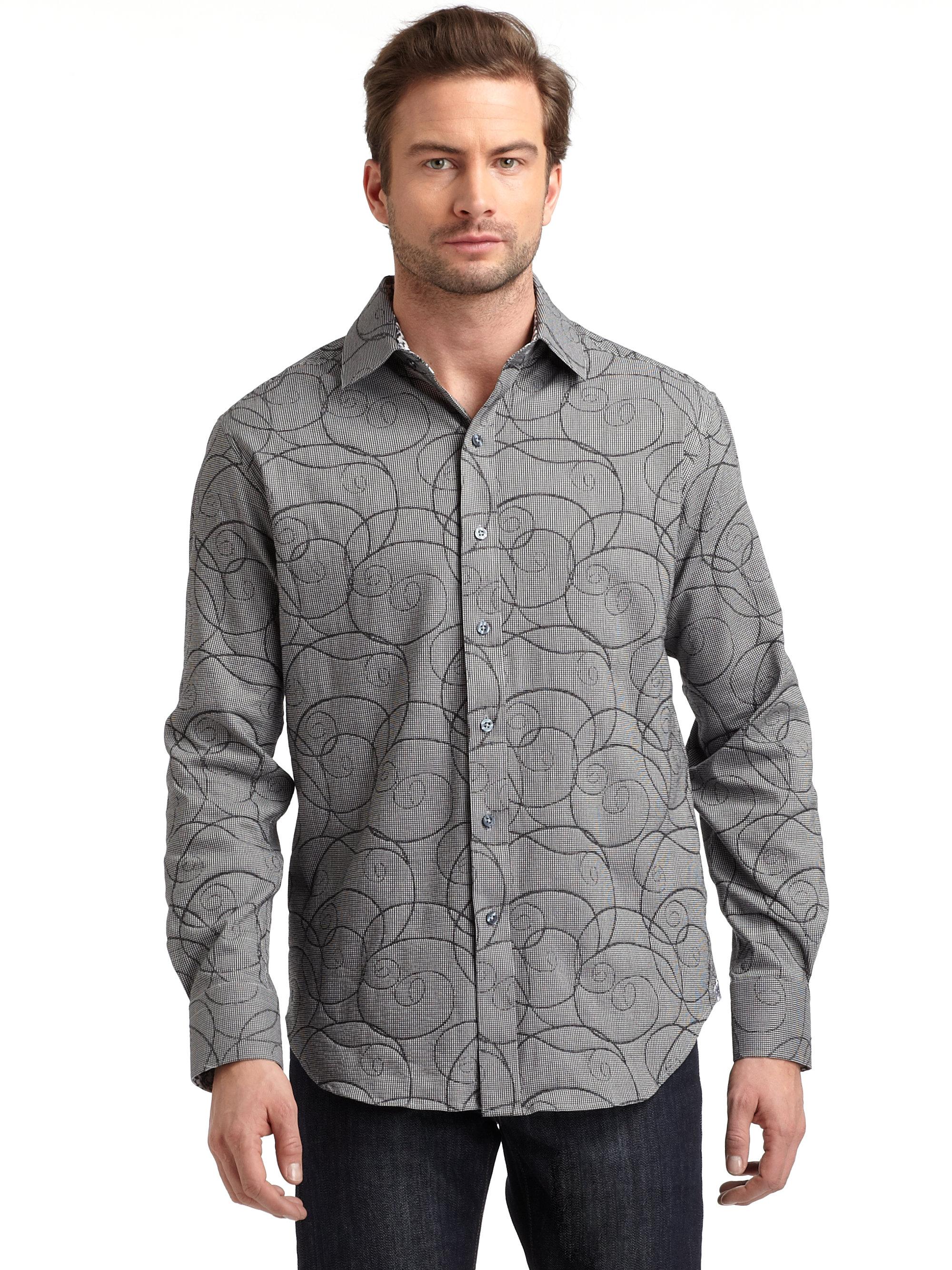Robert graham button down shirt in gray for men grey lyst for Mens grey button down dress shirt