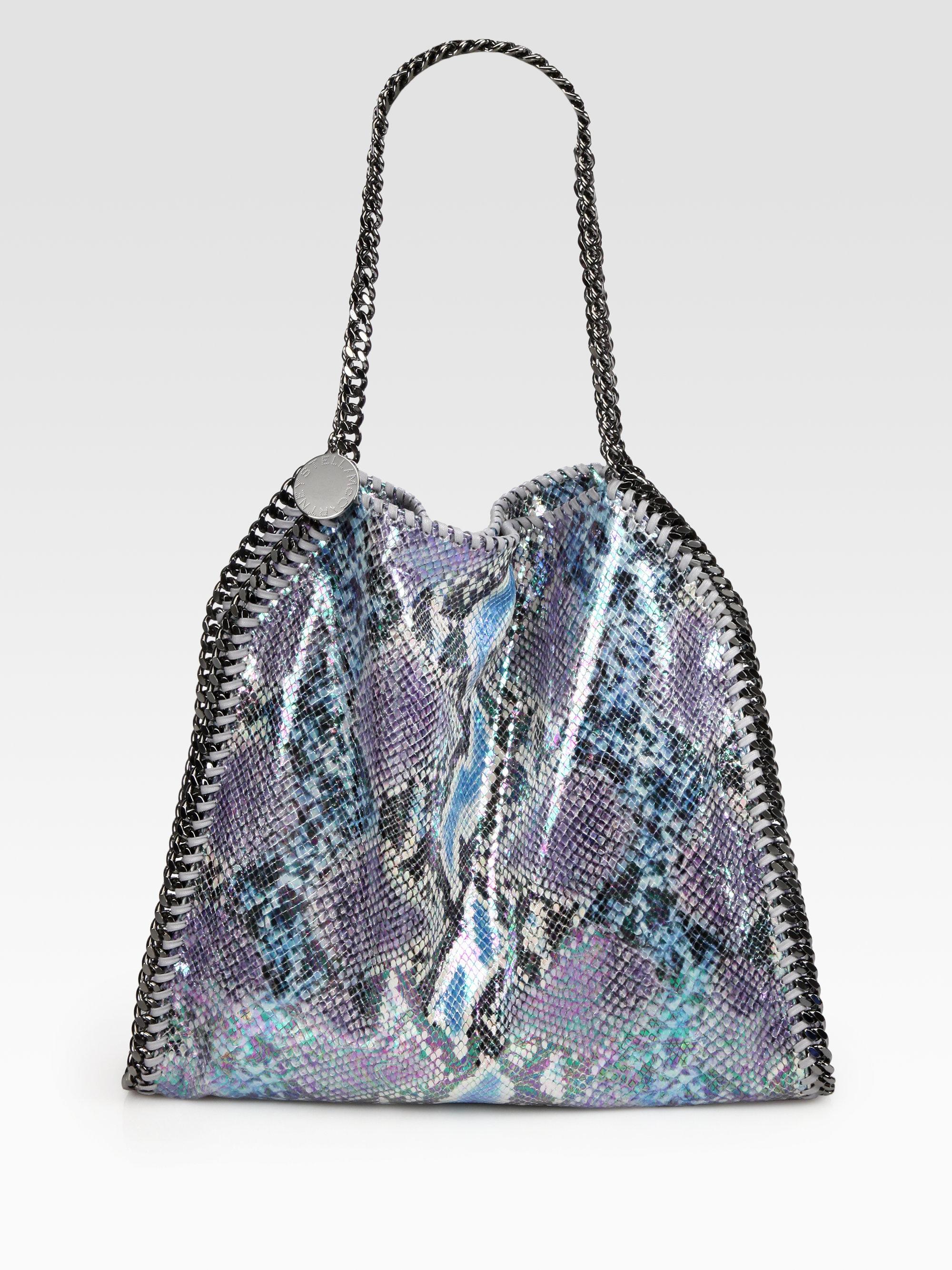 7921a3f0e9df Lyst - Stella McCartney Falabella Python Print Shoulder Bag in Blue