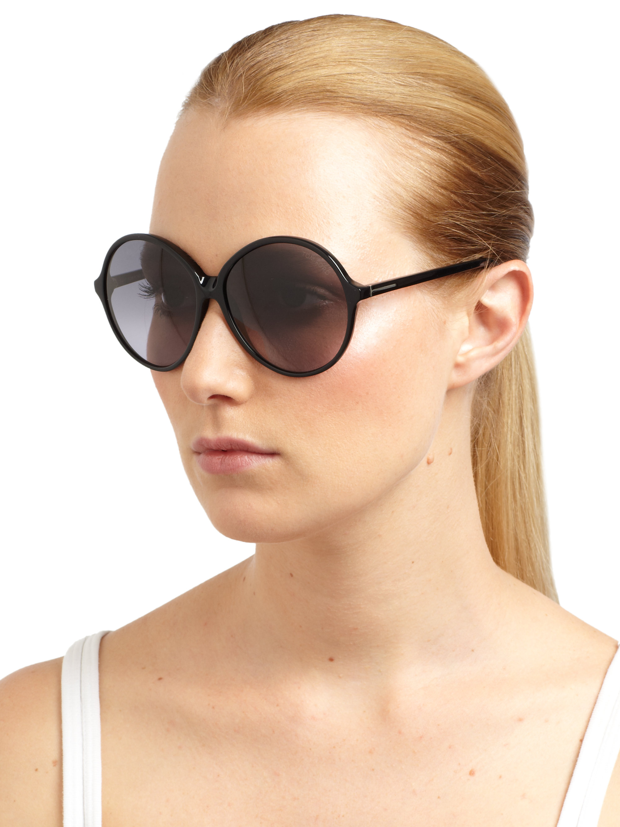 Lyst Tom Ford Rhonda Oversized Round Sunglasses In Black