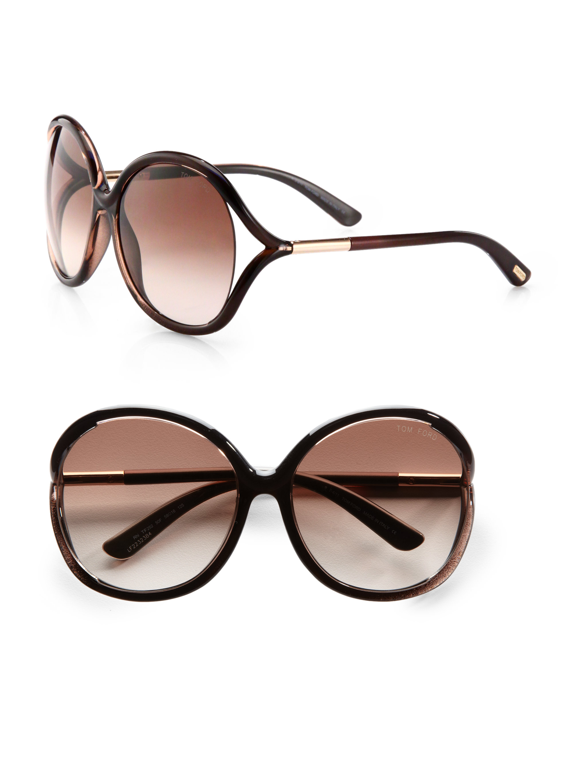 30fd0a042e7 Lyst - Tom Ford Rhi Oversized Round Plastic Sunglasses in Brown