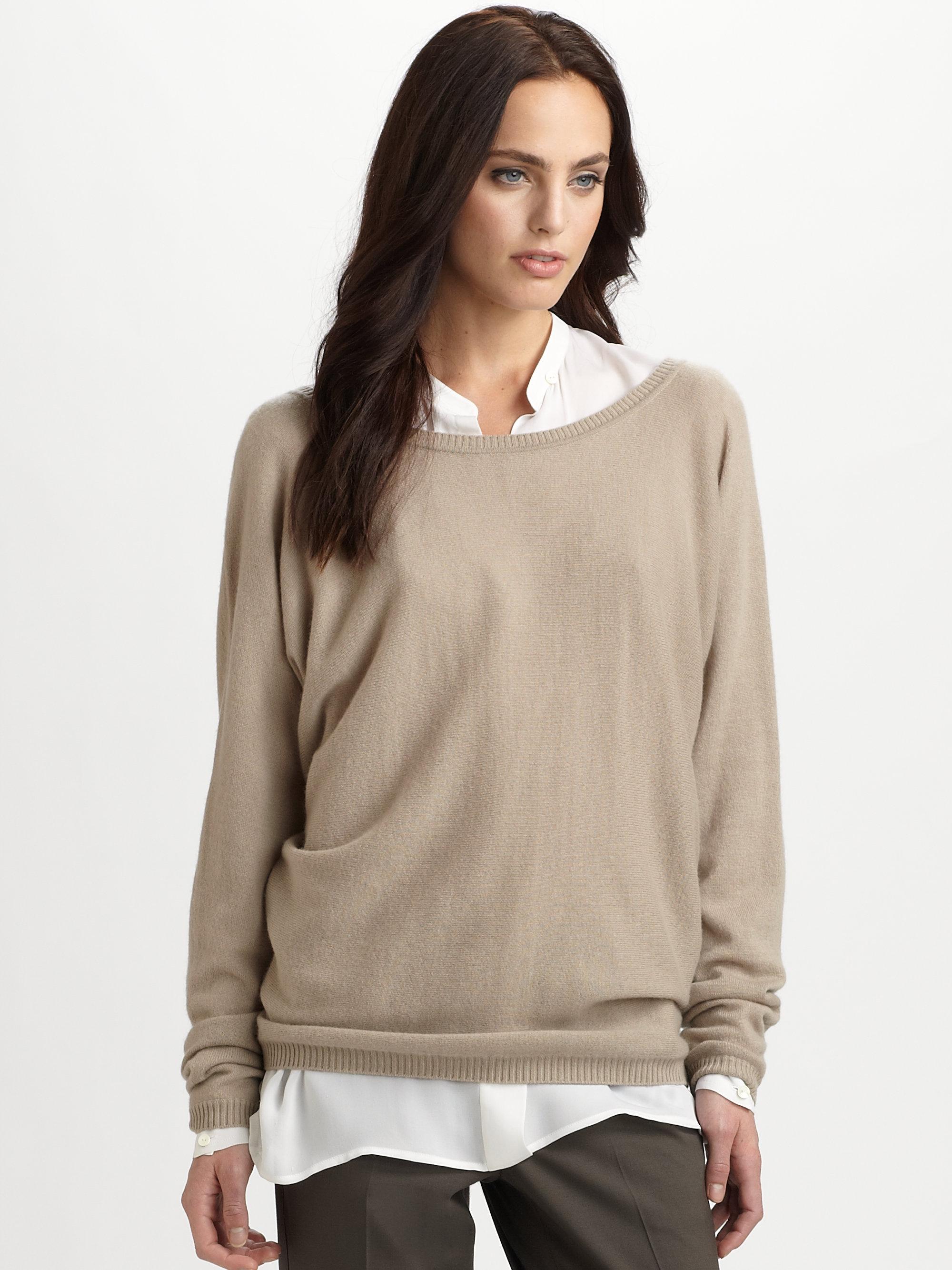 154f23eba1b Lyst - Vince Cashmere V back Sweater in Natural
