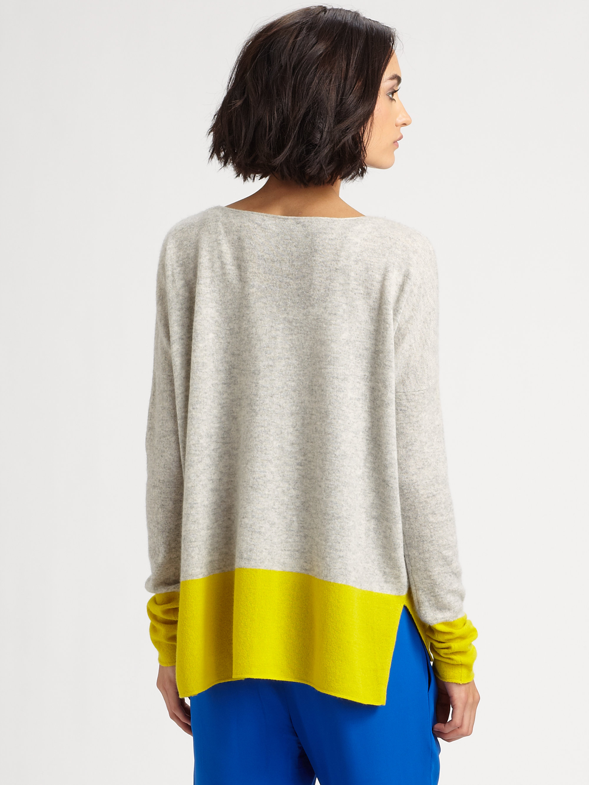 Vince Cashmere Colorblock Sweater in Yellow | Lyst
