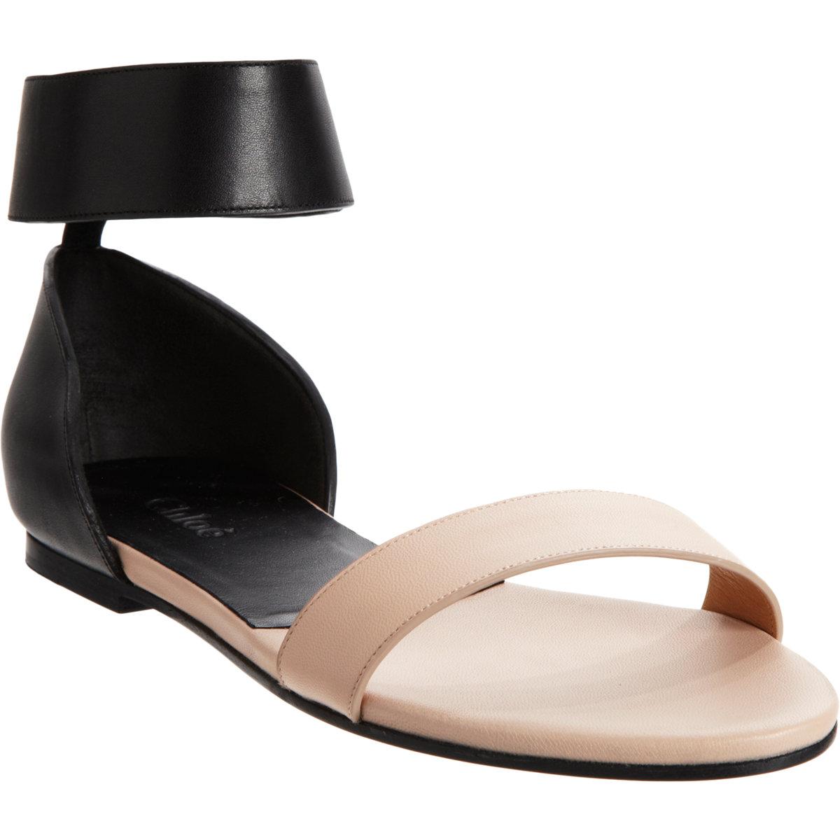 Chloé Two-tone Ankle Strap Sandal in Black - Lyst 1e261720763