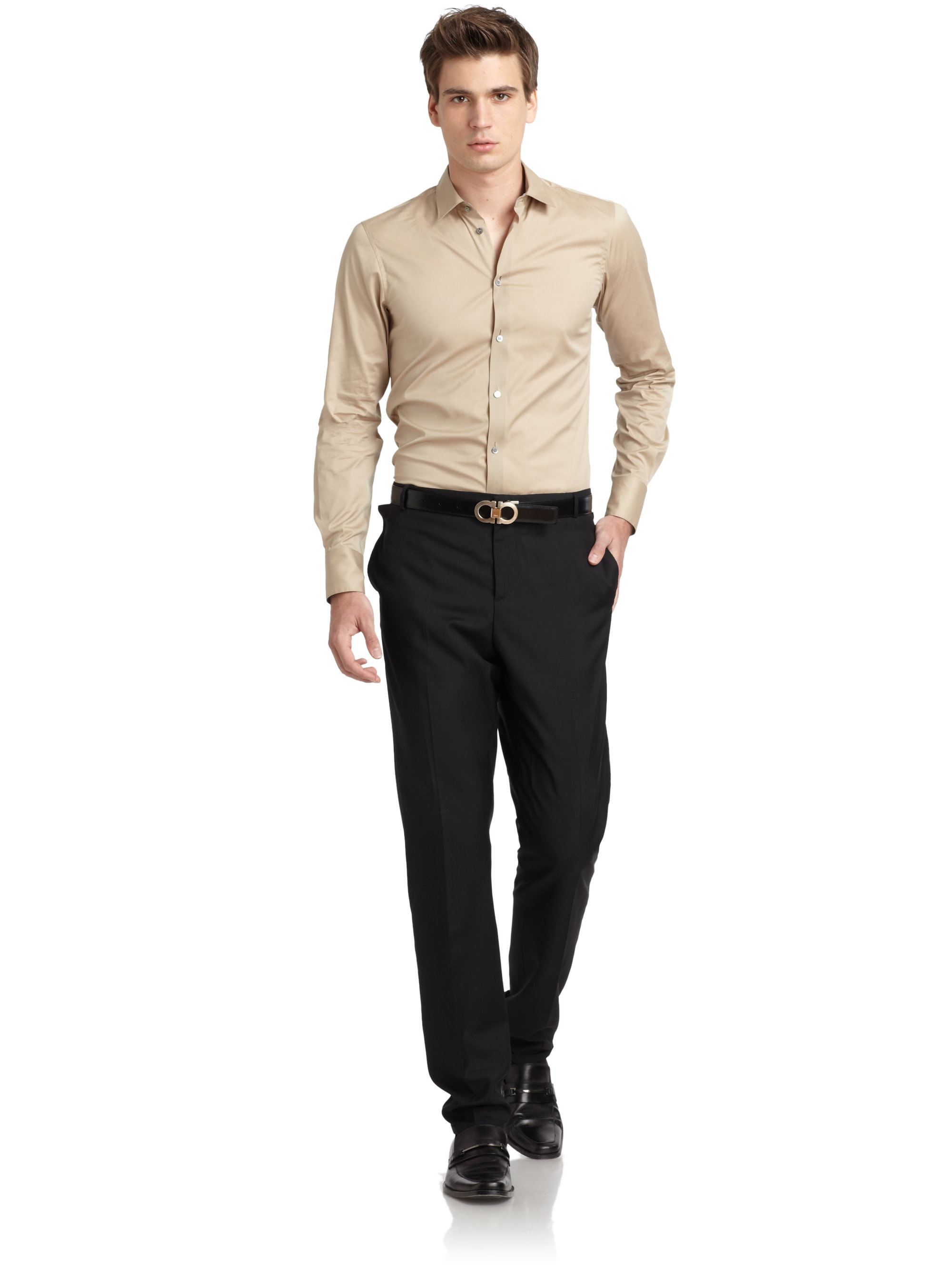 Lyst - Costume national Slim Fit Buttondown Shirt in Natural for Men