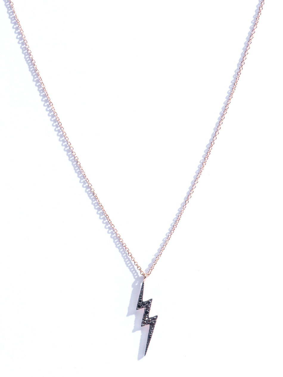 Diane Kordas Diamond And Gold Lightning Bolt Necklace In
