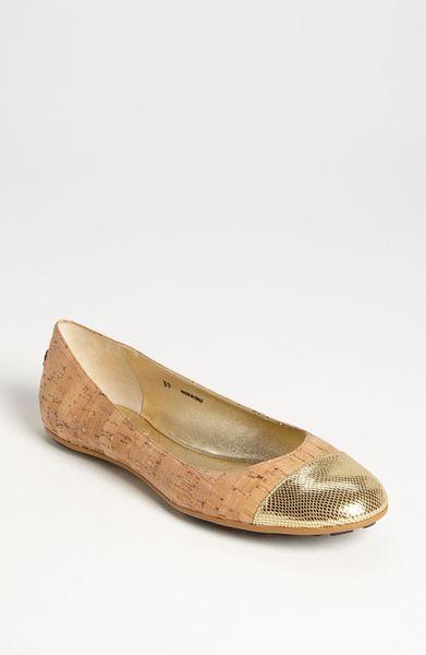 jimmy choo ballerina flat in gold gold tan lyst. Black Bedroom Furniture Sets. Home Design Ideas