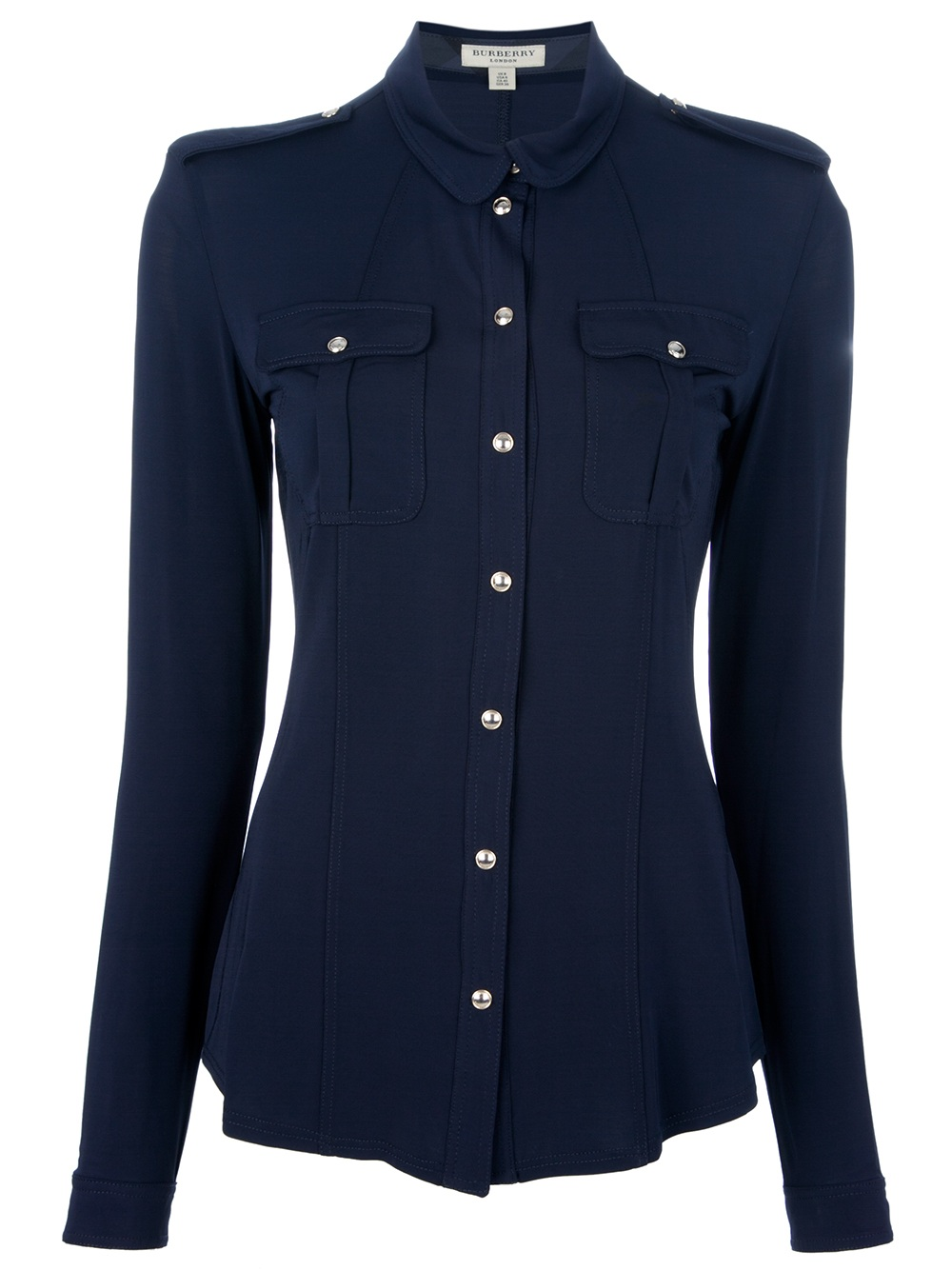 Burberry military shirt in blue lyst for Where are burberry shirts made